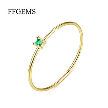 Elegant 100% 10K Gold Sterling Moissanite Rings with certificate Natural emerald Round 2mm Fine Jewelry For Women girl Wedding image