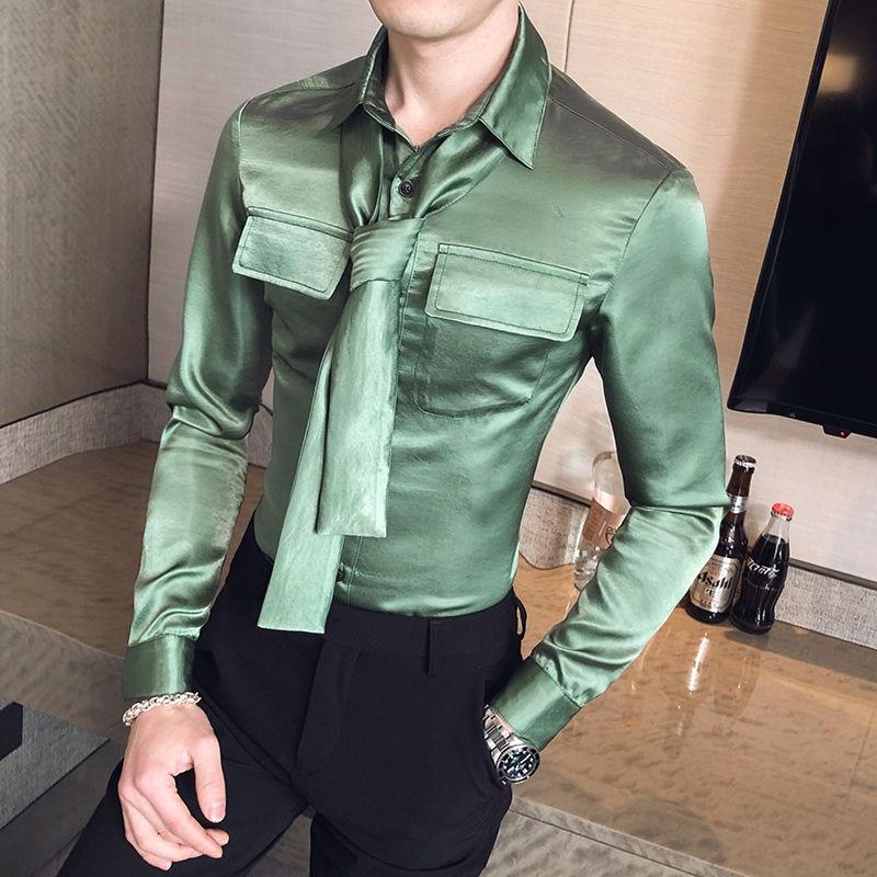 Camiseta Masculina Men's Fashionable Solid Color Long-sleeved Shirt Slim Tie Remove Men's Shirt Chemise Homme Manche Longue 1