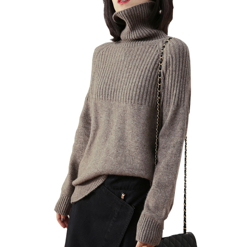 Tailor Sheep Cashmere Sweater Women Long-sleeved Thick Pullover Loose Oversize Turtleneck Sweater Female Warm Wool Tops Q225