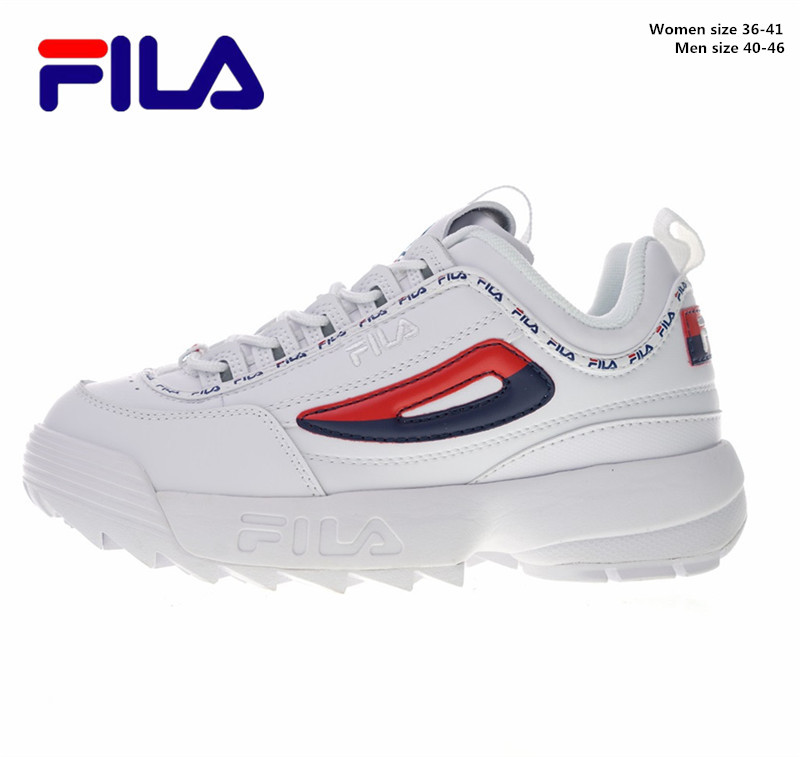 FILA Disruptor II Two Generation Large Sawtooth Thick Bottom Heightening Leg Repairing Baida Jogging Fila Shoes Women Mens