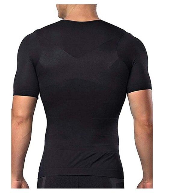 Men Body Toning T-Shirt Body Shaper Corrective Posture Shirt Slimming Belt Belly Abdomen Fat Burning Compression Corset 6