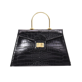 New European and American fashion simple alligator pattern hard handle clamshell bag hand-held single shoulder slant span women' european and american style cowhide alligator day clutch bag gold silver envelope party evening bag small single shoulder bag