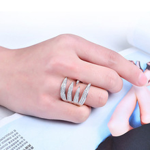 NJ Exaggerated Punk Style Cool Rose Gold Ring For Woman Party Fashion Lady Silver Color Girls Gift