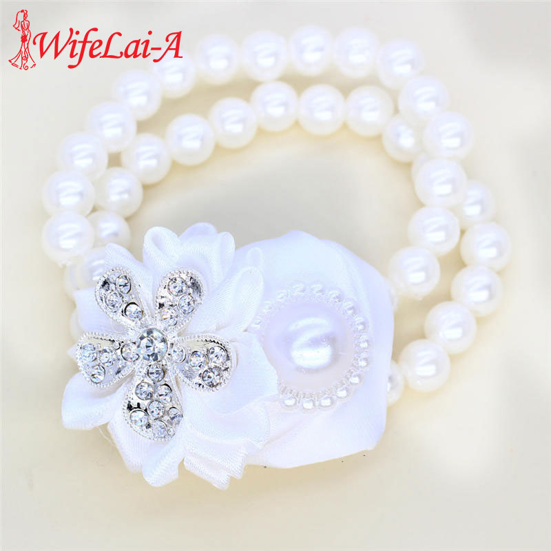 WifeLai-A White Rose Wedding Hand Wrist Flower Bride Bridesmaids Wrist Corsages Silk Ribbon Bride Corsage Hand Decorative SW323