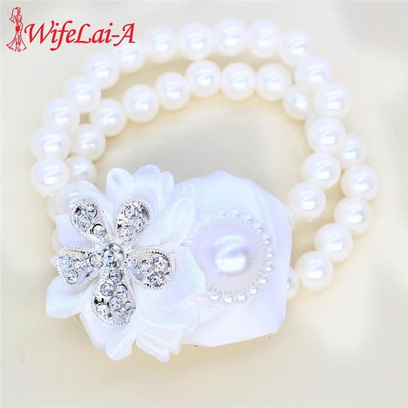 WifeLai-A White Rose Wedding Hand Wrist Flower Bride Bridesmaids Wrist Corsages Silk Ribbon Bride Corsage Hand Decorative SW323