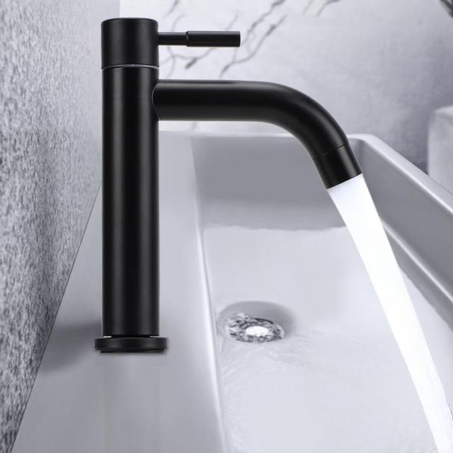 G1/2in Male Thread Stainless Steel Bathroom Basin Faucet Widen Waterfall Type Single Cold Water Tap For Toilet Balcony Kitchen