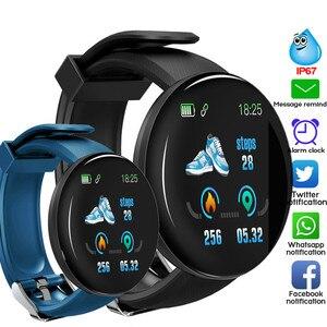 Reloj inteligente D18 relojes de Fitness Monitor de ritmo cardíaco presión arterial medición de oxígeno en sangre para IOS Android reloj de hebilla de teléfono