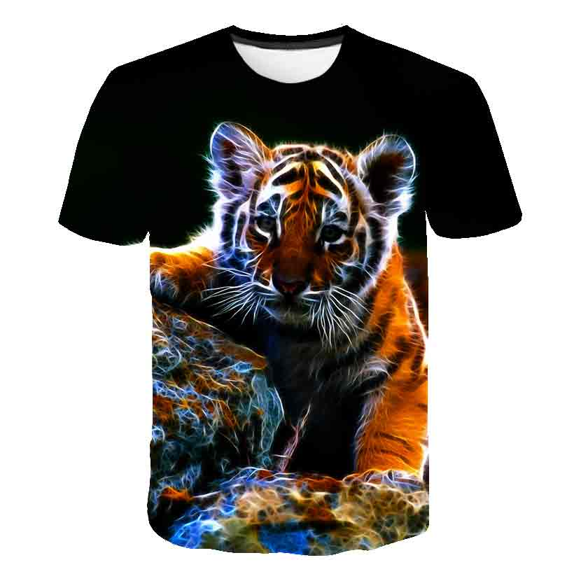 2-16 Years Summer Kids Boys T Shirts Top Children Short Sleeve Tops Tees Clothes Baby Boy  3D Tiger Print T-Shirt Clothing