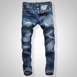 Europese Amerikaanse Stijl Mode mannen gat jeans famous brand straight grijs gat knop slanke merk jeans Potlood Broek voor mannen