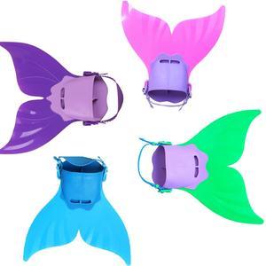 Image 5 - Novedad en bañador para niños niñas sirena con cola de sirena, traje de baño Bikini para niñas con aleta, bañador Monofin