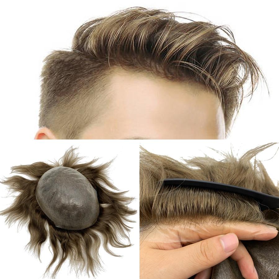 Görünmez düğüm doğal saç çizgisi erkekler 100% Euro-saç insan saçı ön peruk