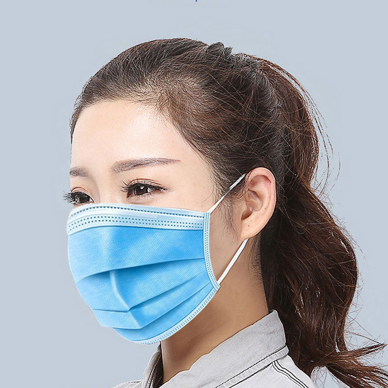 Image 5 - 50pcs Disposable Face Mask Non Woven 3 Layers Dental  Earloop  Masks Anti dust virus Safe Breathable Mouth Face Masks Blue  -