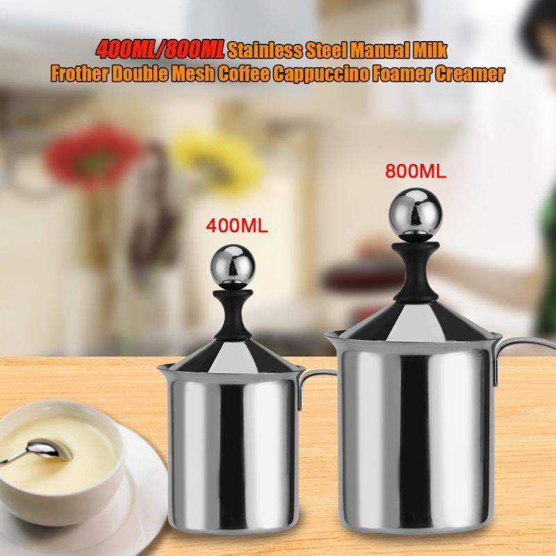 Manual Milk Frother Hand Pump Handheld Milk Foamer Stainless Steel 400ML/800ML Unique Double Mesh Tea Maker Hot Chocolate