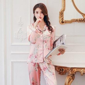 Women Pajamas Set Sleepwear Winter Long Sleeve Mujer Pijamas Nuisette Sexy Lingerie Nightwear Silk Satin Pyjamas pjs Suit 2Pcs 13