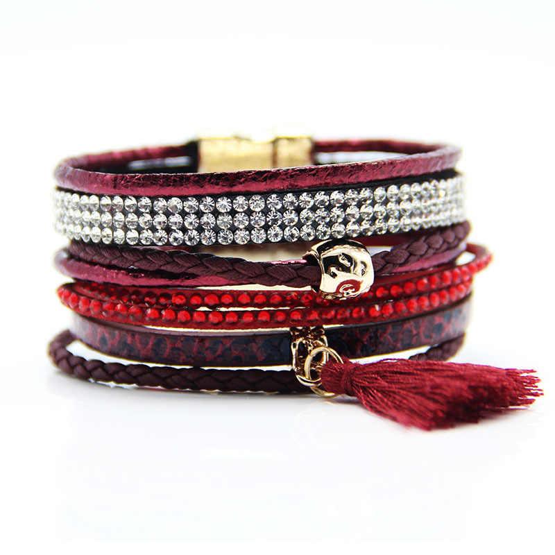 Skórzana bransoletka dla kobiet i mężczyzn wielowarstwowe Wrap klamra magnetyczna z kryształu górskiego frędzle styl narodowy bransoletka biżuteria prezent dla par