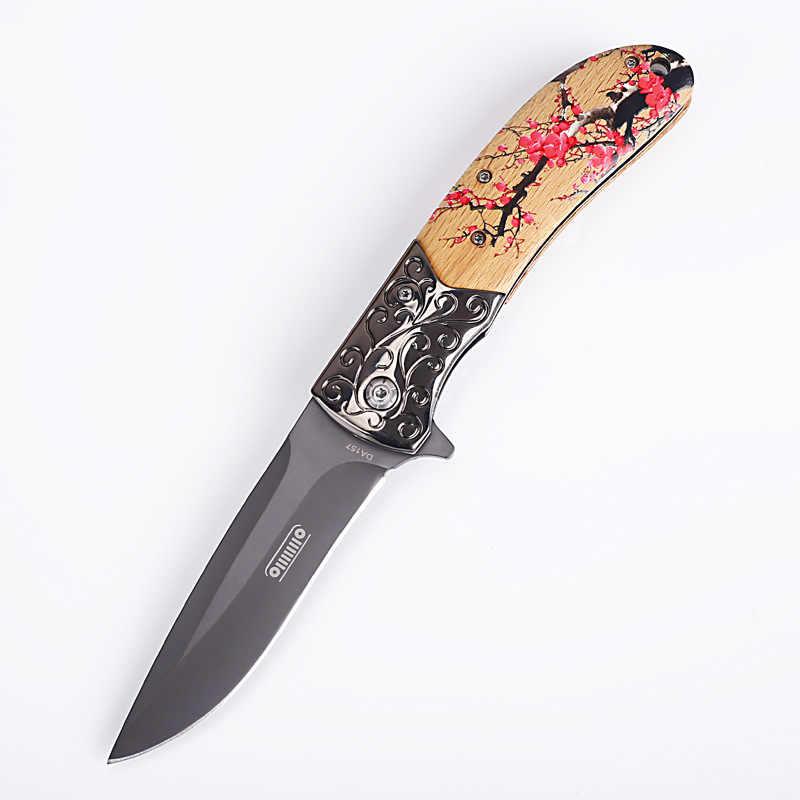 Kadın/kız yeni gelenler erik çiçeği stil ahşap saplı bıçak Mini cep katlanır bıçak silah hayatta kalma aracı avcılık EDC