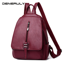 2019 Women Leather Backpacks Vintage Female Sac A Dos Travel Ladies Bagpack Mochilas School Bag Genuine Leather Backpack Mochila
