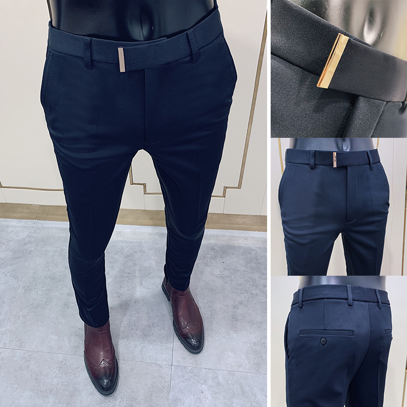 2020 Business Suit Pant Mens Dress Pants Ankle Length Casual Slim Formal Trousers Elastic Pencil Pants Office Work Men Clothes