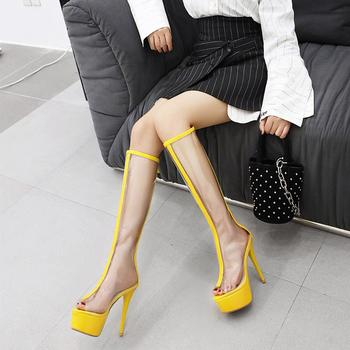 Summer Gladiator Women PVC Pumps Sandal Boots Shoes Spring new fashion Women's Shoes Peep Toe boots Women's transparent boots