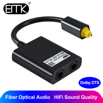 EMK Digital Optical Splitter Audio Cable 2-Way SPDIF Toslink Splitter Cable 1 input 2 Output Optical adapter Speakers TV PS4 DVD