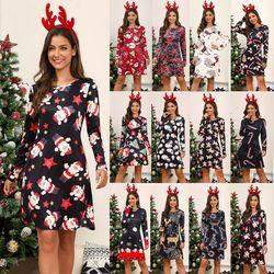 Women's Xmas Dress Snowman Snow Reindeer Long Sleeve Christmas Party A-Line Mini Dress Plus Size S-3XL 5