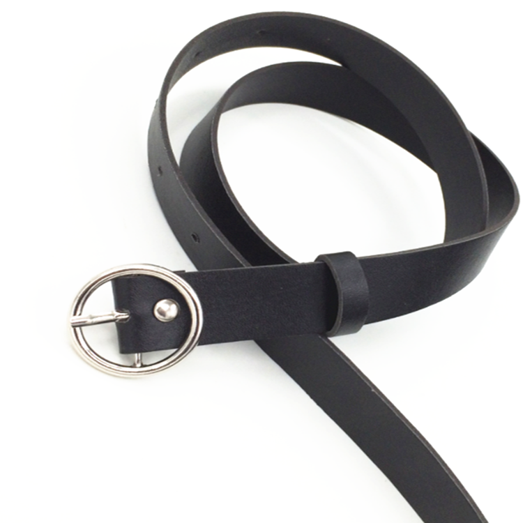 2020 New Female Fashion Solid Round Buckle   Belt   Metal Buckle Casual PU   Belt   Women's Simple Popular Personality Waist Accessories