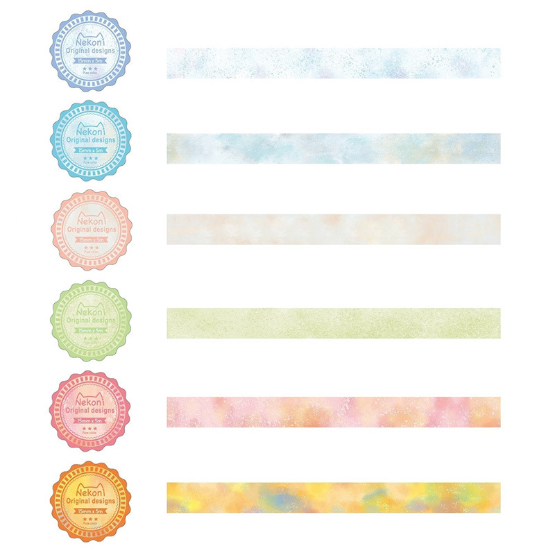 1.5cm Watercolor Korean Nekoni Colorful Original Designs Washi Tape Adhesive Tape DIY Scrapbooking Sticker Label Masking Tape
