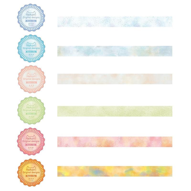 1.5cm Watercolor Korean Nekoni Colorful Original Designs Washi Tape Adhesive Tape DIY Scrapbooking Sticker Label Masking Tape
