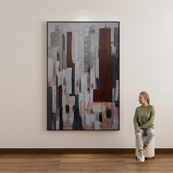 Handmade Painting Wall Art Canvas Painting Abstract City Painting Architecture Decorative Painting Living Room Vertical Painting фото
