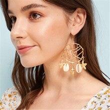 Women Female Vintage Long Big Dangle Drop Earrings Fashion Shell Starfish Conch Metal Earrings Jewelry Wholesale-YR-W17