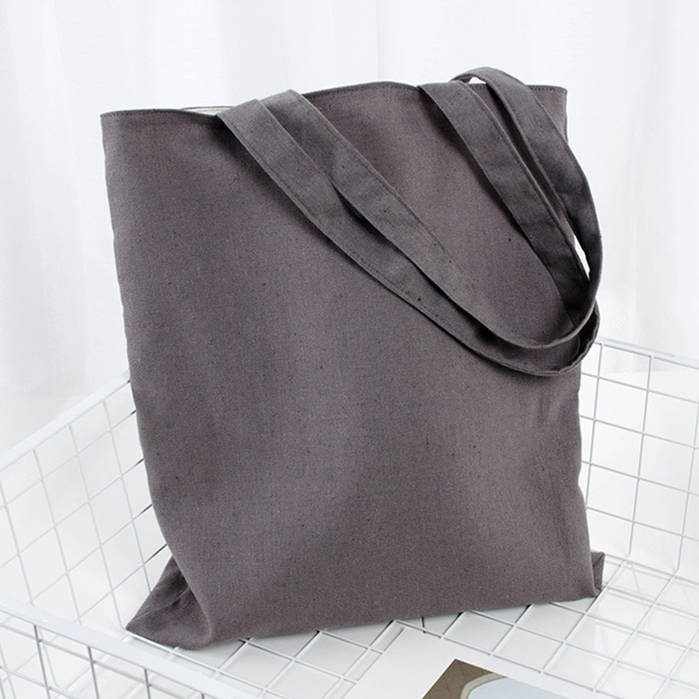 Large Capacity Reusable Storage Multipurpose Washable Natural School Universal Cotton Blend Solid Shopping Tote Bag Soft