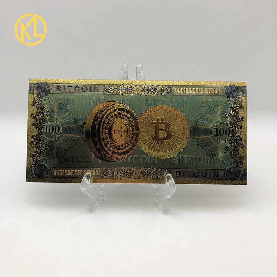 1pc Colorful Gold Plated banknot ONE Hundred BITCOIN plastic Money Bit Coin BTC Fake Money Souvenir Home Decoration-1