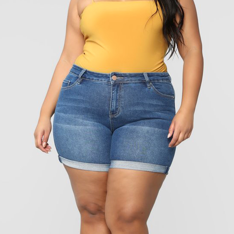 Newly Women Plus Size Stretch Denim Shorts High Waisted Hot Shorts for Summer S66