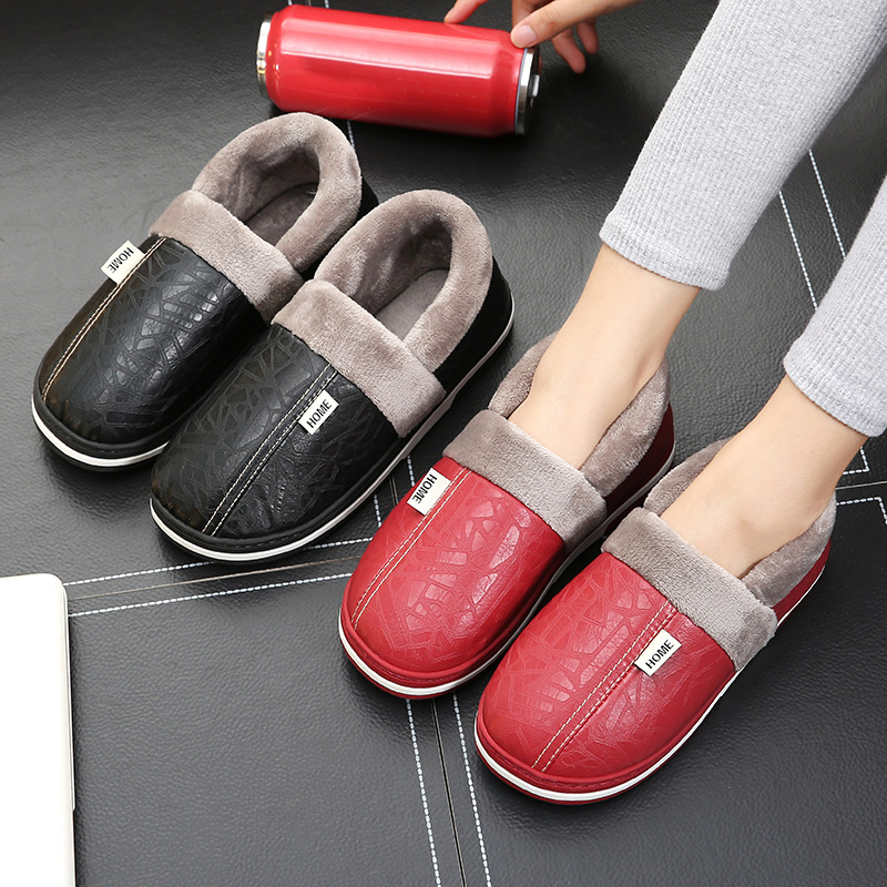 Men Women Leather Winter Home Slippers Unisex Short Plush Shoes Male House Indoor Female Floor PU Waterproof Warm Felt Footwear