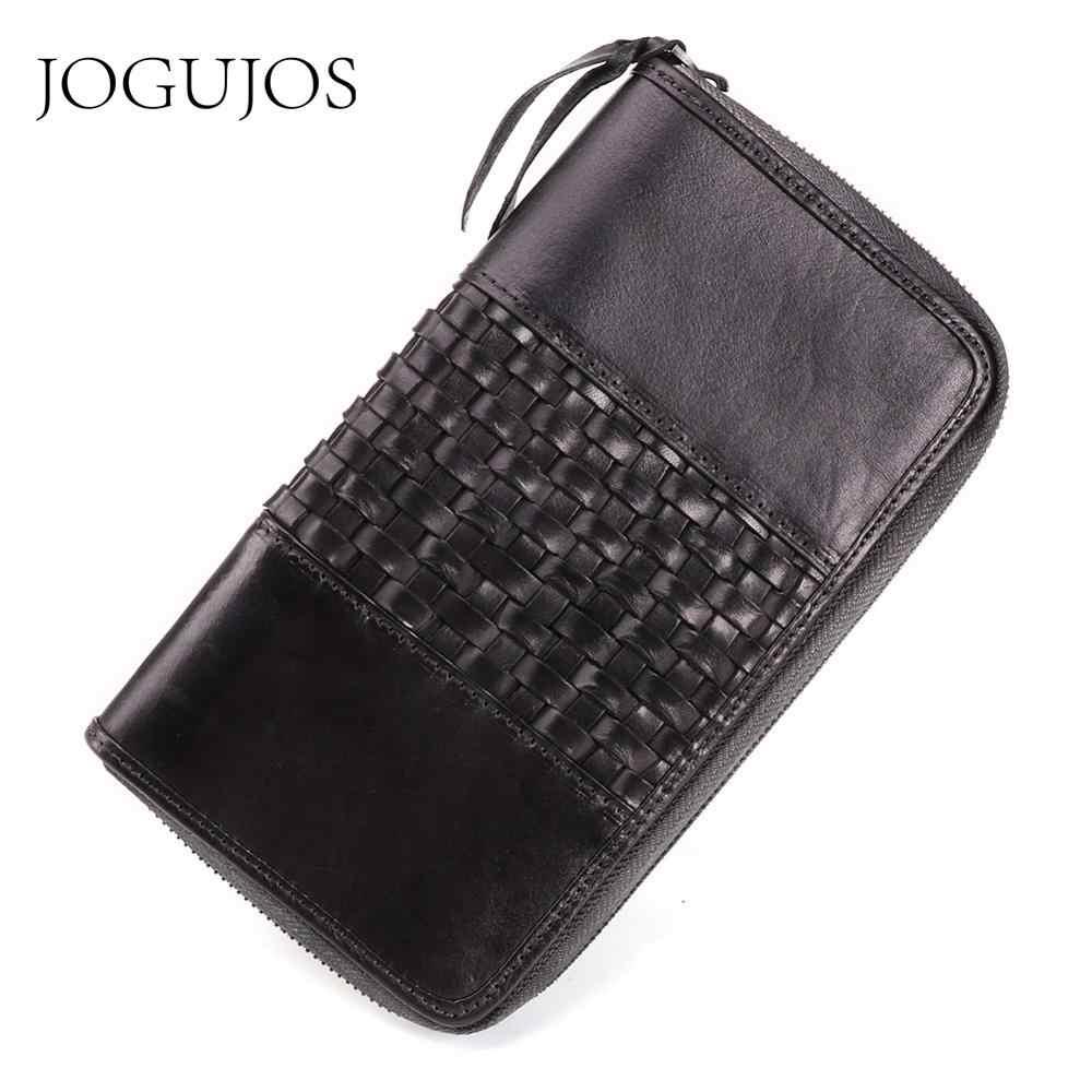 JOGUJOS Cartera de cuero genuino tejiendo carteras largas de mujer embrague RFID tarjeta de crédito billetera de mujer cremaller