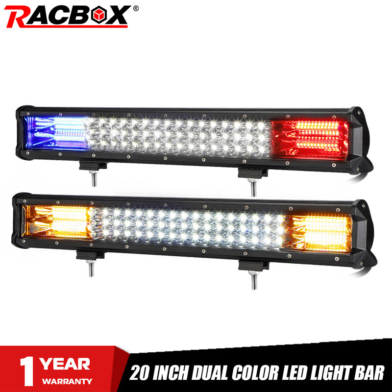 20 Inch Offroad LED Light Bar Dual Color White Amber Blue Red Spot Flood Warning Strobe LED Work Lamp For Truck ATV SUV 4X4 UTV
