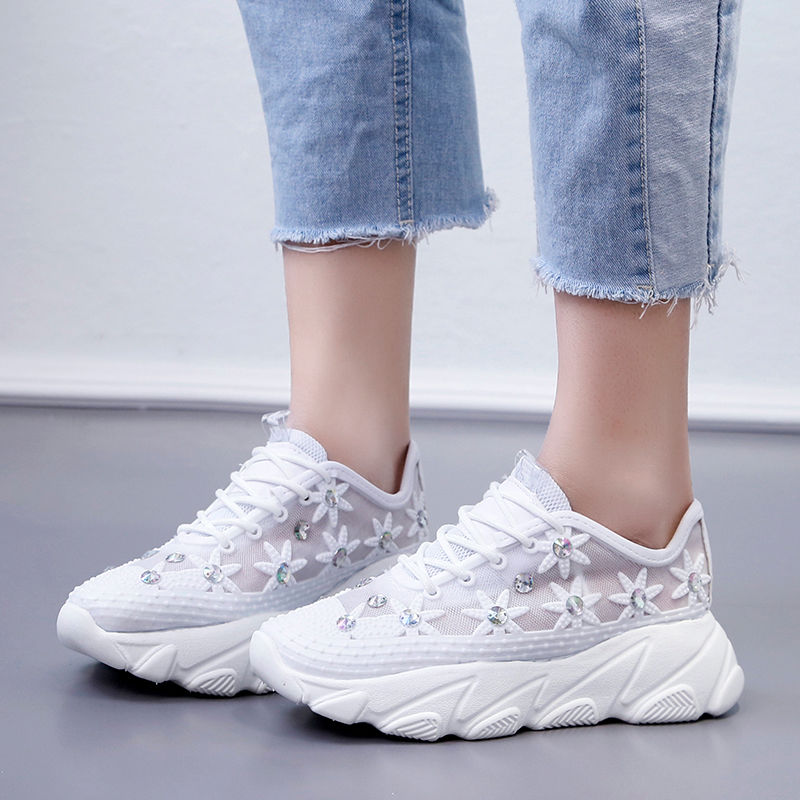 Daddy Sneakers Girls Summer Shoes Women Flower Breathable Mesh Wedges Sneakers Woman's Shoes 2020