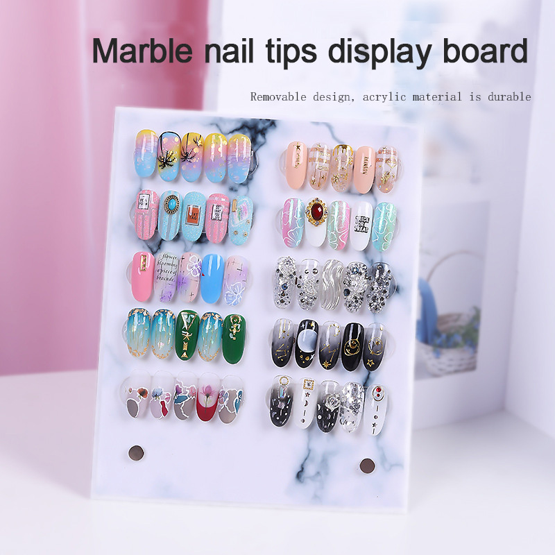 ANGNYA 1PC Fashion Nail Art Display Board Book Marble Solid Magnet Adsorption Detachable Color Card Display Glossy Board 20*16CM image