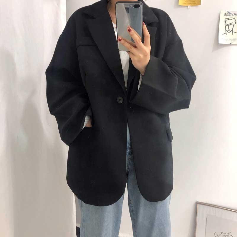Korean 2019 Spring Fashion Women Blazer Long Sleeve Casual Loose Preppy Style Single Button Jacket Tops Female Coat oversize