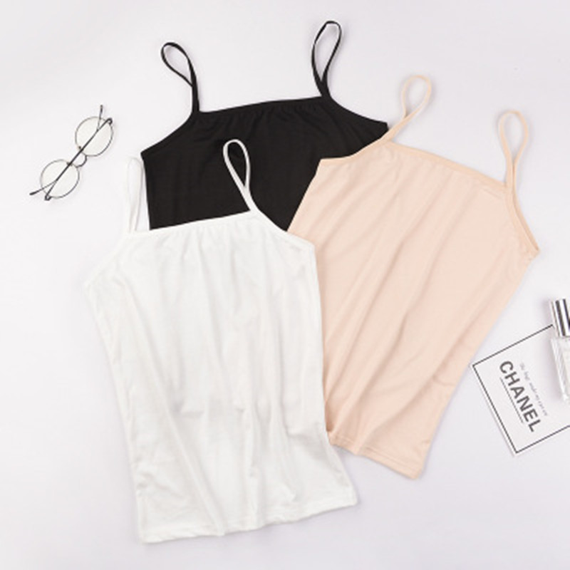 0260 Camisole For Women Vest Female Summer Bottoming Shirt Horizontal Neck Breathable Solid Color Small Strap Women's