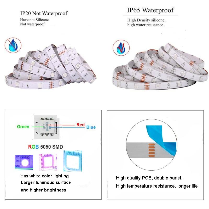 LED Strip Light 10M RGB LED 5050 Light Neon 12V Waterproof Decoration For Wall Bedroom Ambient TV Bluetooth Controller EU Plug 6