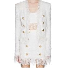 高品質最新 2020 秋冬デザイナージャケット女性のライオンボタンタッセルツイードのジャケットコート