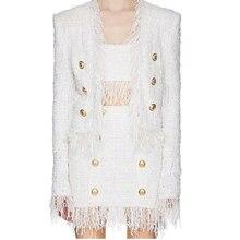 Alta qualidade mais novo 2020 outono inverno designer jaqueta feminina leão botões tassel tweed franjas casaco