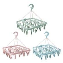 Cloth Hanger Wardrobe Storage Sock-Holder Rack Multifunctional 32-Clips Portable