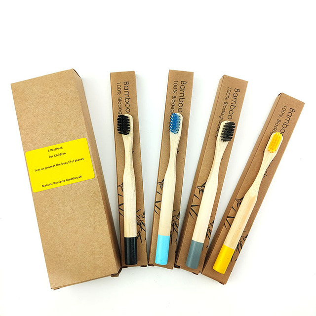 4Pcs Multi-color Natural Bamboo Toothbrush with Round Wood Handle Soft Bristle child Toothbrush Eco Friendly Bamboo Tooth Brush 6