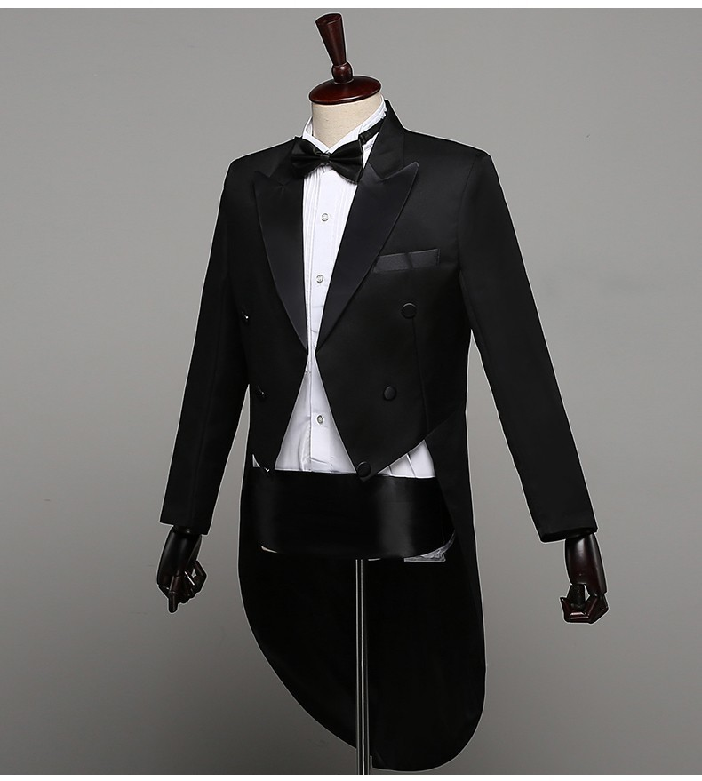 Tuxedo Dress XS XL Men Classic Black Shiny Lapel Tail Coat Tuxedo Wedding Groom Stage Singer 2 Piece Suits Dress Coat Tails in Suits from Men 39 s Clothing