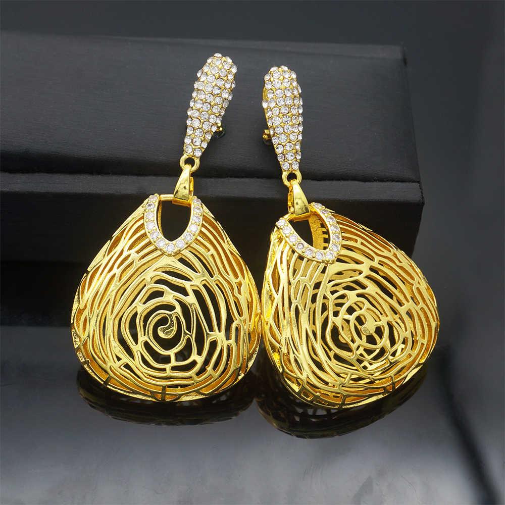銅ゴールドイヤリングペンダントジュエリー新デザインアフリカ女性イヤリングウェディングギフト