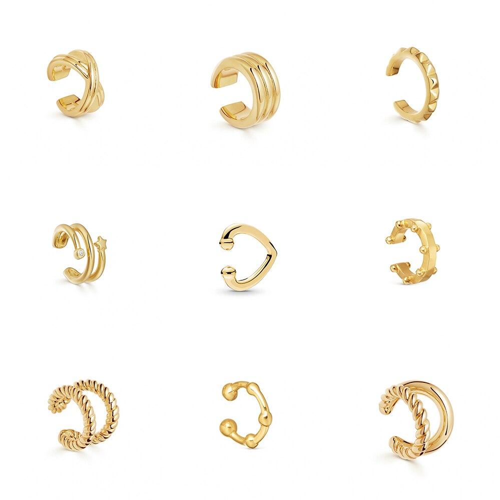 Punk Fashion Gold Silver Color Ear Cuff Earrings For Women MINI Cute Small Earcuff Clip On Earring No Pierced Elegant Jewelry
