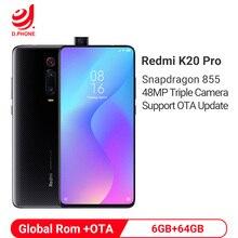 Xiaomi Redmi K20 PRO с глобальной ПЗУ, 6 ГБ, 64 ГБ, задняя камера Snapdragon 855, 48 МП, всплывающая фронтальная камера, 4000 мАч, распознавание экрана