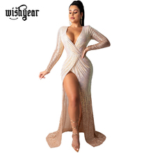 Wishyear Sexy Sequined Maxi Evening Party Dress Wrap V Neck Long Sleeve High Slit Robe Long Banquet Dresses Club Vestidos